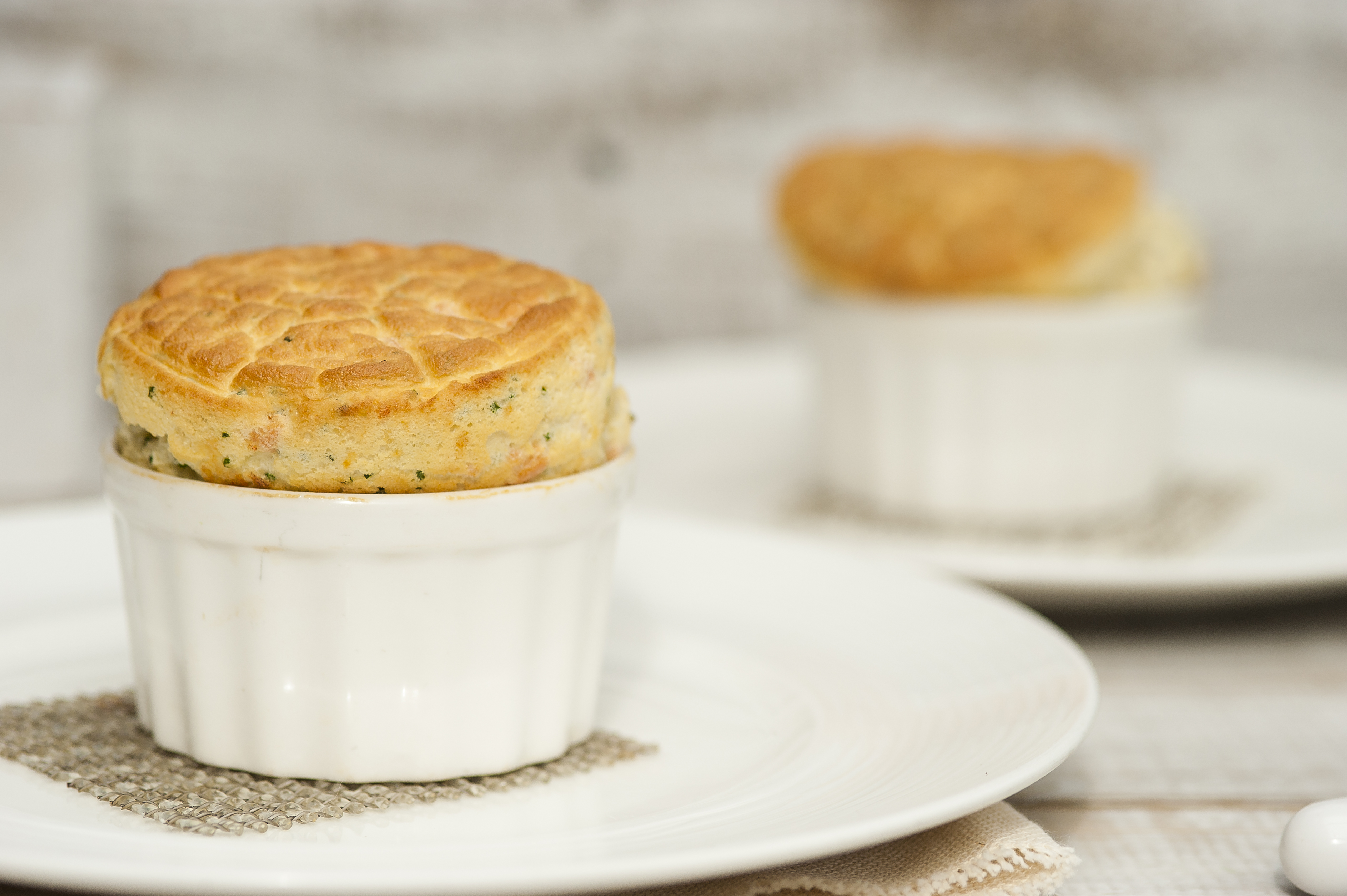 Orkney cheddar cheese soufflé with smoked salmon | Cost Sector ...